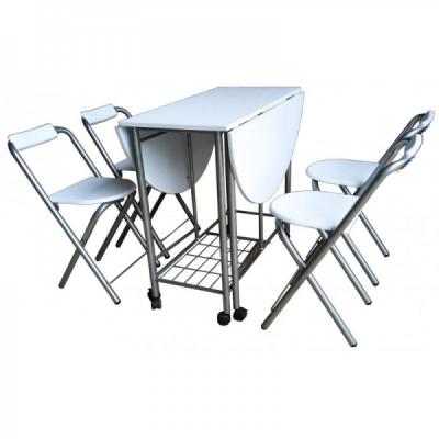 Set masa si 4 scaune Pliabile Metal si MDF Grunberg SM3184 Alb