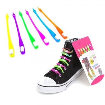 Sireturi Colorate din Silicon Set 6 Neon Lazy Shoe Laces