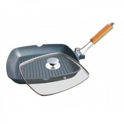 Tigaie Aluminiu Grill Teflonat cu Capac 36x24cm Grunberg HXG36LD