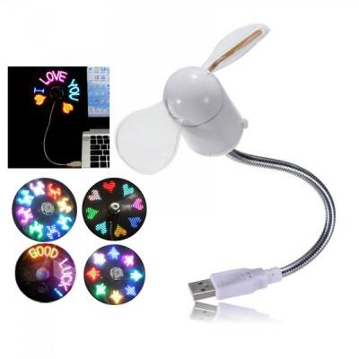 Ventilator USB cu brat flexibil si diverse mesaje luminoase ON/OFF