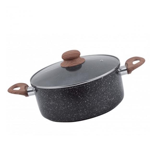 Cratita Otel Carbon cu Ceramica Marmorata 26cm 5.15l Grunberg GR2936