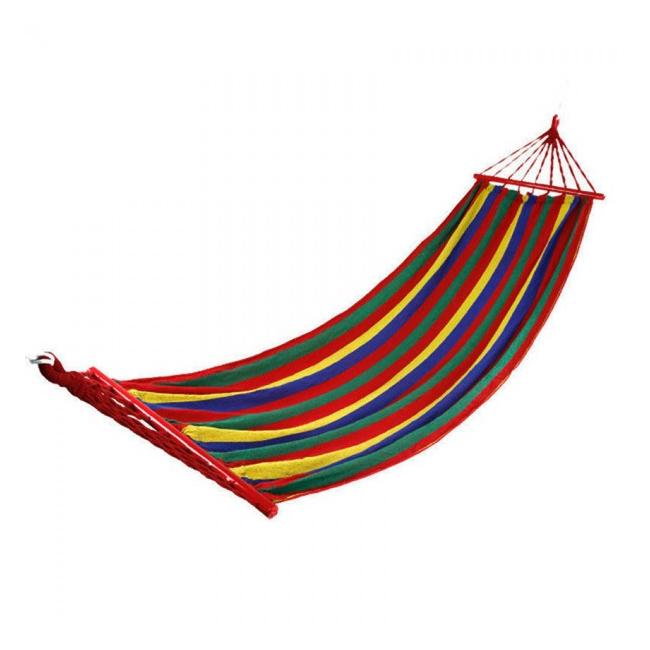 Hamac Curcubeu Textil 1 Persoana 2x0.80m cu Bare Lemn 120Kg HM2100
