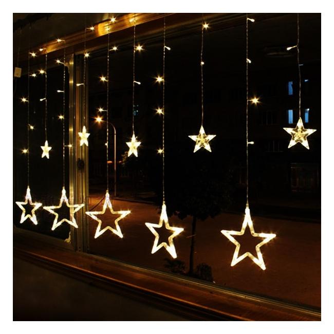 Instalatie Ghirlanda 12 Stele Decoratiuni Luminoase Alb Cald  3x1m P