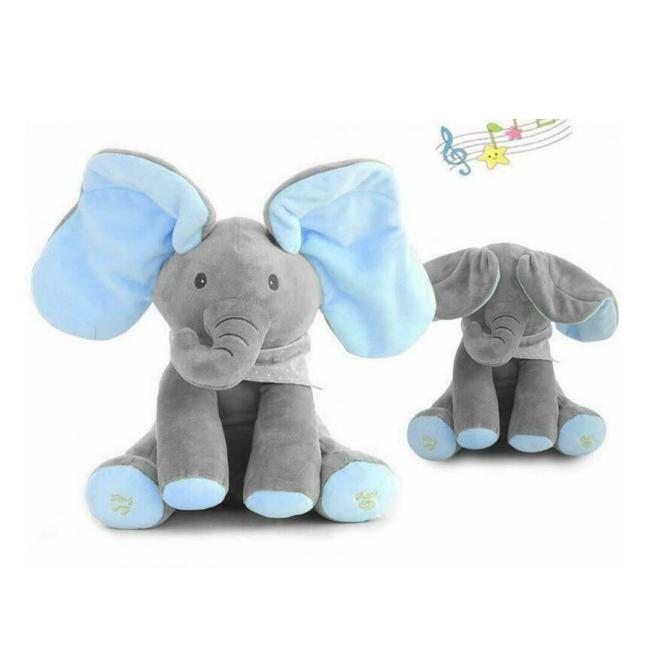 Jucarie Elefant Interactiv Plus 26cm Pick A Boo Cucu-Bau Bleu