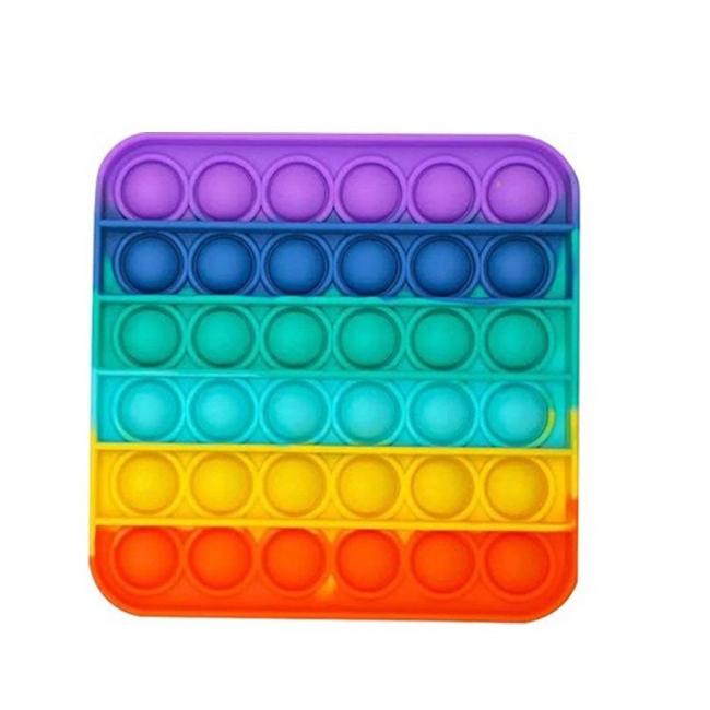 Jucarie POP IT Antistres Silicon Curcubeu Patrat 12.5x12.5x1.5cm