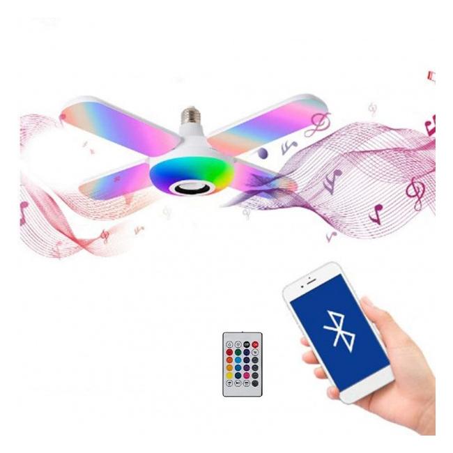 Lampa LED Alb si RGB E27 48W Boxa Bluetooth Senzor Muzica Telecomanda
