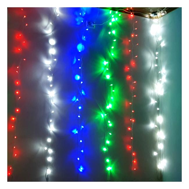 Perdea Luminoasa Craciun Ext. 3x3m 300LED Multicolor Fir Incolor P 6012