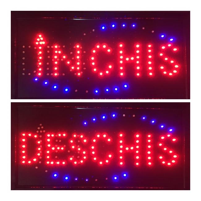Reclama Luminoasa LED Deschis Inchis 50x25cm Rosu Albastru