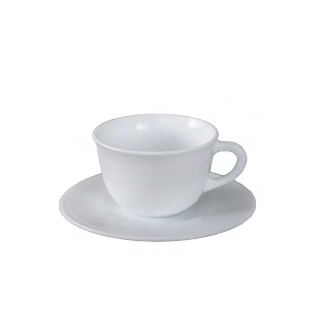 Set 24 Cesti Cafea 200ml cu 24 Farfurioare Opal Albe ArtCraft
