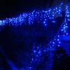 Instalatii de Craciun Perdea Franjuri Inegali 120 LED Albastru Lungime 3m