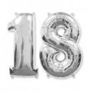 Balon Jumbo Cifra 100cm din folie metalizata Argintie de la 0 la 9