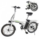 Bicicleta Electrica Pliabila 20 Inch 250W 36V Alb cu Verde Nakto