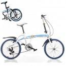 Bicicleta Pliabila cu Roti 20 Inch U8 Alb cu Albastru