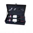 Cutie Cadou din Piele Croco Pentru 2 Sticle Vin cu 4 Accesorii