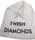 Fes Unisex Beanie Caciula Lasata pe Spate Alb cu Negru I Wish Diamonds
