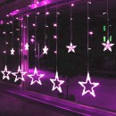 Instalatie Ghirlanda Perdea 12 Stele Luminoase Roz 3x1m P FI