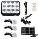 Kit Solar Lampa 12LED SMD, Telecomanda, USB, 3 Becuri, 6V2.4Ah GD8054