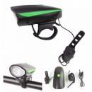 Lanterna LED 1W Far Bicicleta cu Sonerie si Incarcare USB FY058