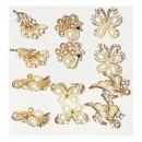 Martisoare 1 Martie Set 12 Brose Fantezie Aurii cu Cristale si Perle