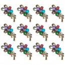 Martisoare 1 Martie Set 12 Brose Floare cu Cristale Colorate