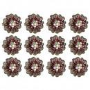 Martisoare 1 Martie Set 12 Brose tip Floare cu Cristale Rosii