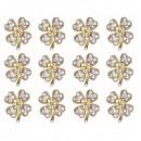 Martisoare 1 Martie Set 12 Brose Trifoi Auriu cu Cristale Incolore