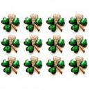 Martisoare 1 Martie Set 12 Brose Trifoi cu Cristale Verzi