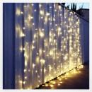 Perdea Luminoasa Craciun Exterior 2x1.5m 150LED Alb Cald Fir Negru TO