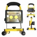 Proiector 2xCOB LED 30W 12V 220V cu Acumulator si Suport, Alb Rece