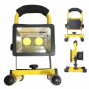 Proiector 2x COB LED Albe 30W cu Acumulator Incarcare USB, Slot USB