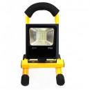 Proiector LED 20W Alb Rece IP65 220V cu Acumulator si Suport