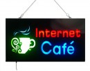 Reclama Luminoasa cu LEDuri tip Caseta Neon Internet Cafe 24x44cm