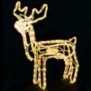 Reni de Craciun 3D Animati cu Coarne Furtun Luminos LED Alb Cald
