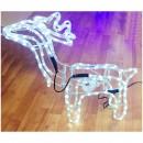 Reni de Craciun 3D cu Coarne 60x60cm Furtun Luminos LED Alb Rece CL