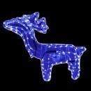 Reni de Craciun 3D cu Coarne 60x60cm Furtun Luminos LED Albastru CL