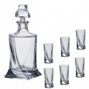 Set 6 Pahare Shoturi si Decantor Whiskey, Crystalite Bohemia Quadro