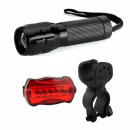 Set Lanterna LED 1W cu Zoom si Semnalizare Bicicleta Bailong