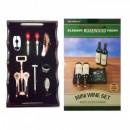 Set Cadou Barbati Accesorii si Suport Lemn pentru Sticle de Vin SS07265