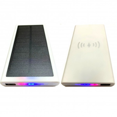 Baterie Externa Solara Incarcare Wireless USB Power Bank 8000