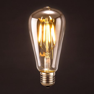 Bec LED Filament 8W Decorativ Edison Vintage Alb Cald E27 ST64