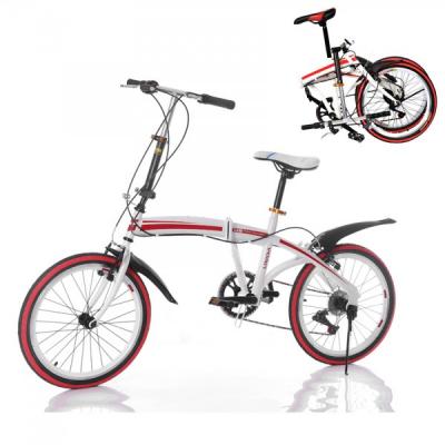 Bicicleta Pliabila cu Roti 20 Inch U8 Alb cu Rosu