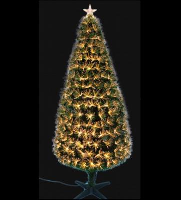 Brad Artificial Craciun Decorat cu Fibra Optica Aurie 120cm BL017