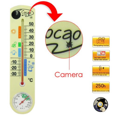 Camera Ascunsa in Termometru, cu senzor de miscare