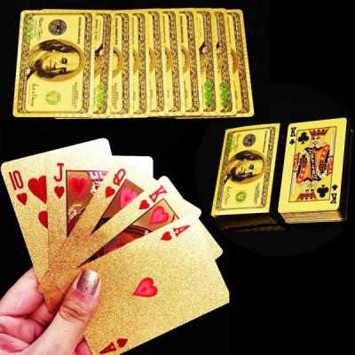 Carti de Joc Aurii Plastifiate cu Design 100 Dolari