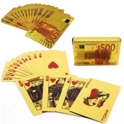 Set Carti de Joc Aurii Plastifiate cu Design 500 Euro Cadouri Barbati