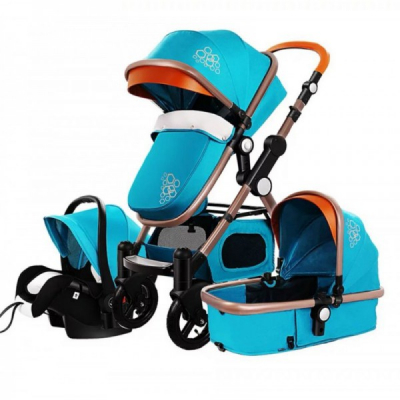 Carucior Multifunctional 3in1 JU Golden Baby T800 Albastru