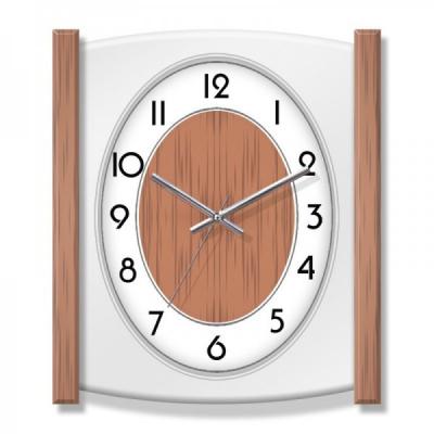 Ceas de perete Dreptunghiular cu insertii aspect Lemn KLJ7220