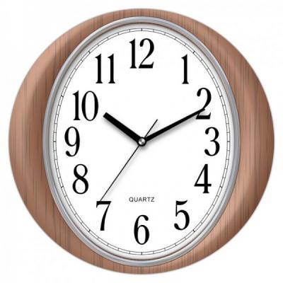 Ceas de perete Rotund cu aspect de lemn KLJ7090