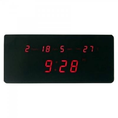 Ceas Digital de Perete Afisaj Data, Ora si Temperatura TL2510 Rosu