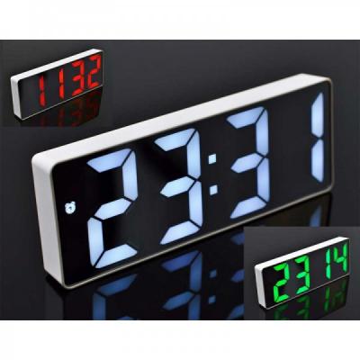 Ceas Digital Plastic Alb tip Oglinda la USB Lumina LED GH0712L Verde